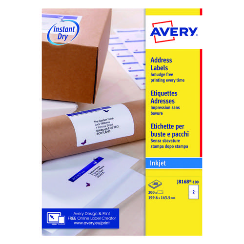 Avery QuickDRY J8168-100 Inkjet Labels