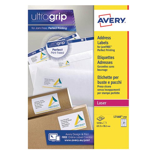 Avery Quickpeel L7160-250 Laser Address Labels 63.5 x 38.1mm (Pack ...
