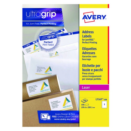 Avery Jam-Free L7167-100 Labels Pk100