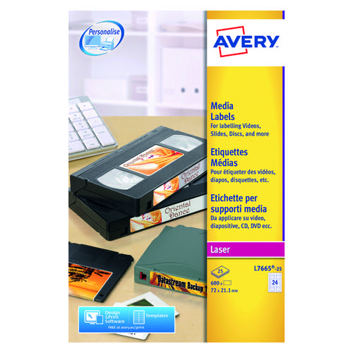 Avery L7665-25 Laser Labels 72x21.1