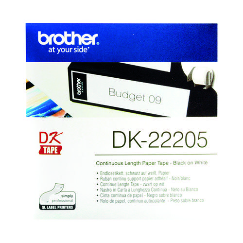 Brother Black on White Continuous Length Paper Tape 62mm DK22205
