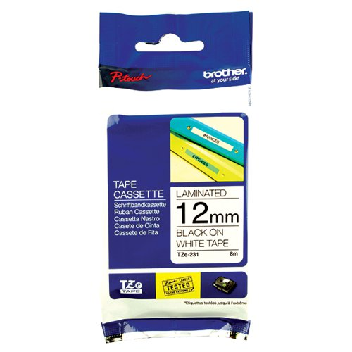 Brother P-Touch 12mm Black on White TZE231 Labelling Tape