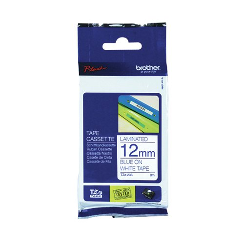 Brother P-Touch 12mm Blue on White TZE233 Labelling Tape