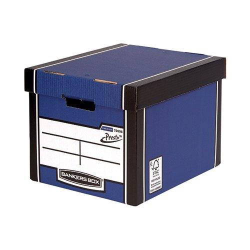Fellowes Bankers Box Premium Presto Storage Box Blue/White (Pack of 10) 7260603