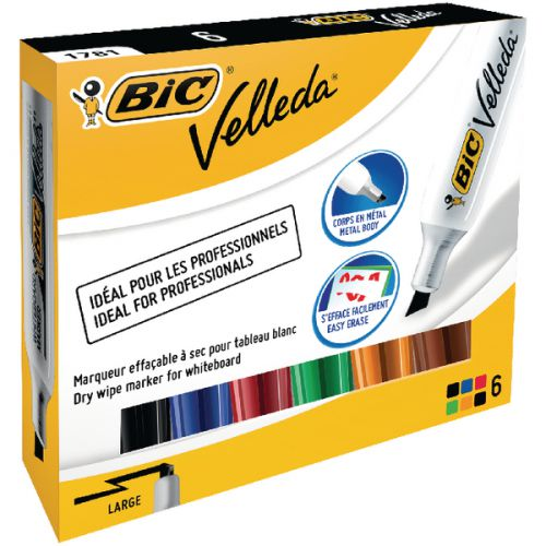 Bic Velleda 1781 Drywipe Assorted Marker (Pack of 6) 875788