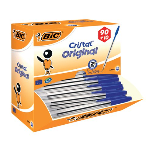 Bic Cristal Ballpoint Pen Medium Blue (Pack of 100) 896039