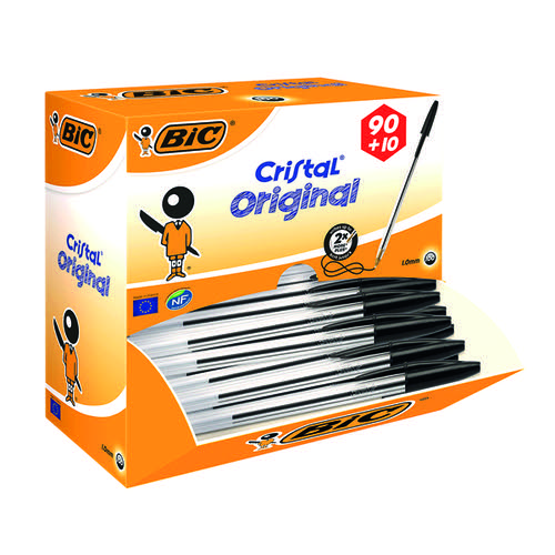 Bic Cristal Ballpoint Pen Medium Black (Pack of 100) 896040