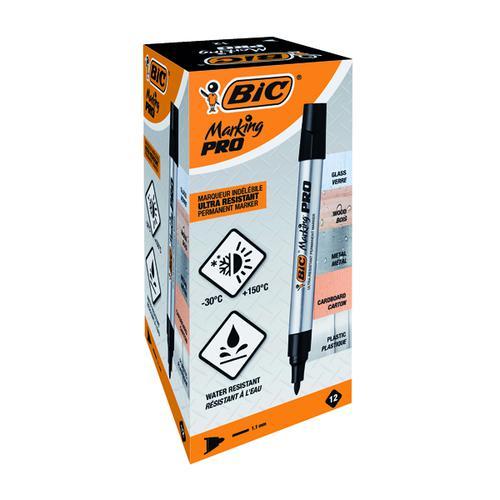 Bic Marking Pro Bullet Tip Permanent Marker Black PK12