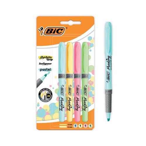 Bic Pastel Highlighter Blister PK4