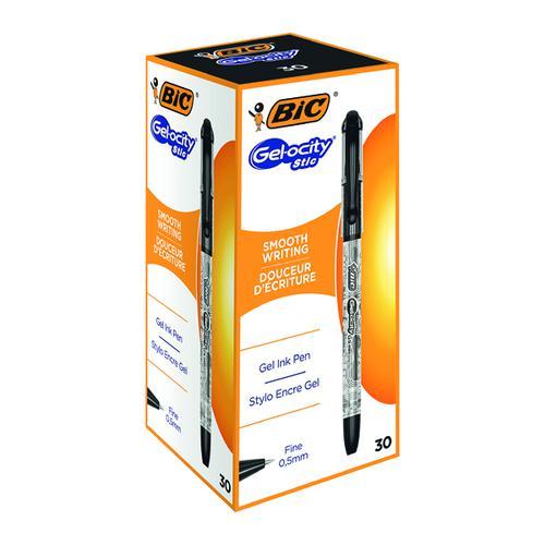 Bic Gelocity Gel Ink Pens 0.5mm Black (Pack of 30) CEL1010266