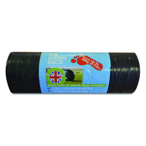 The Green Sack Medium Duty Refuse Sack on a Roll Black (Pack of 15) GR0771