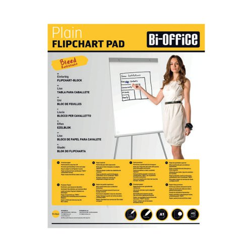 Bi-Office A1 Plain Flipchrt Pads Pk5