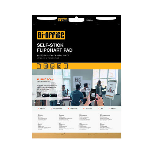 Bi-Office Self Stick Flipchart Pads Pk2