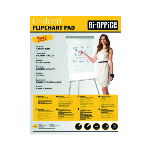 Bi-Office A1 Flipchart Grid Pads Pk5