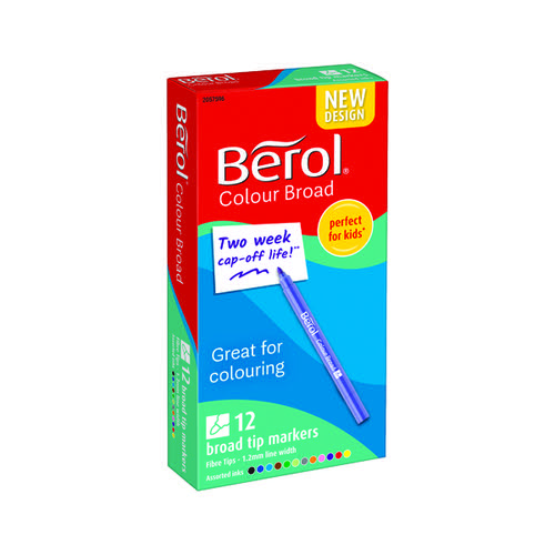 Berol Colourbroad Pen Asstd WB Ink Pk12