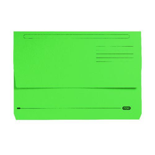 Elba Bright Manilla Foolscap Green Document Wallet 290gsm 100090268