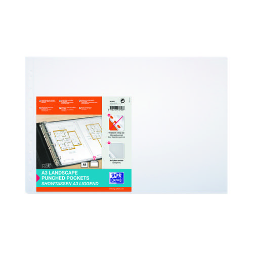 Elba Punched Pocket Polypropylene Landscape A3 Clear (Pack of 100) 100080922