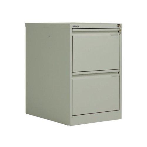 Bisley 2 Drawer Filing Cabinet Flush Fronted Goose Grey BS2EGY