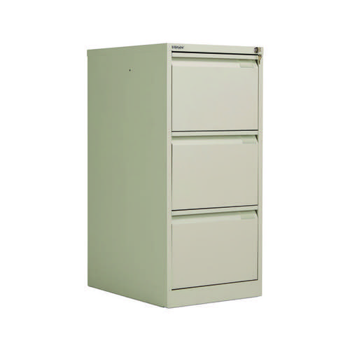 Bisley 3 Drawer Filing Cabinet Flush Fronted Goose Grey BS3EGY