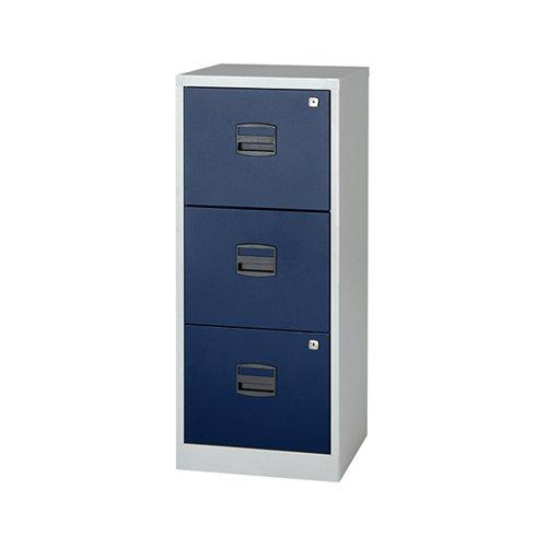 Bisley 3 Drawer A4 Home Filer Grey/Blue BY78727