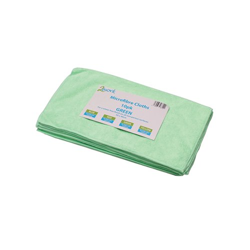 2Work Green 400mm Microfibre Cloth Pk10