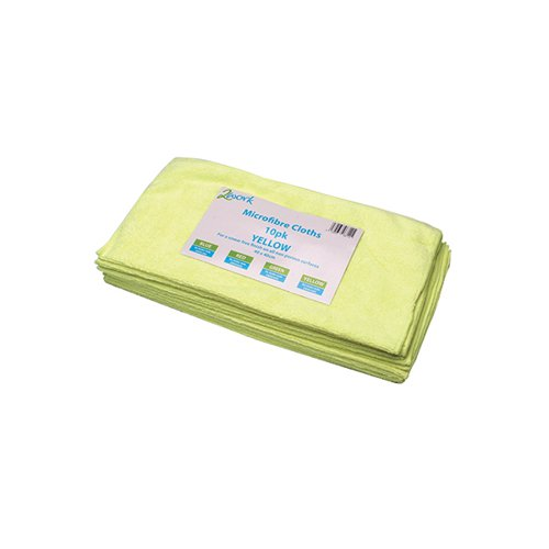 2Work Yellow 400mm Microfibre Cloth Pk10