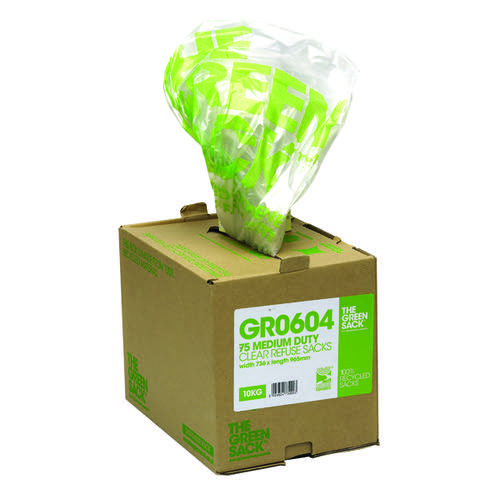 The Green Sack Refuse Bag in Dispenser Clear (Pack of 75) GR0604