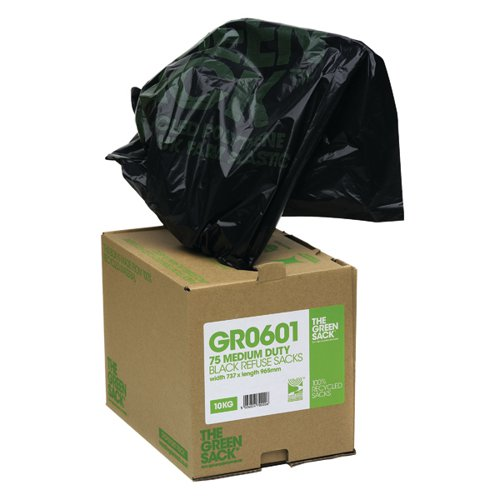 The Green Sack Refuse Bag Heavy Duty Black in Dispenser Pk 75 GRO604