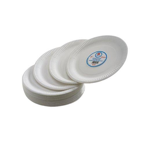 White 7 Inch Paper Plate Pk100