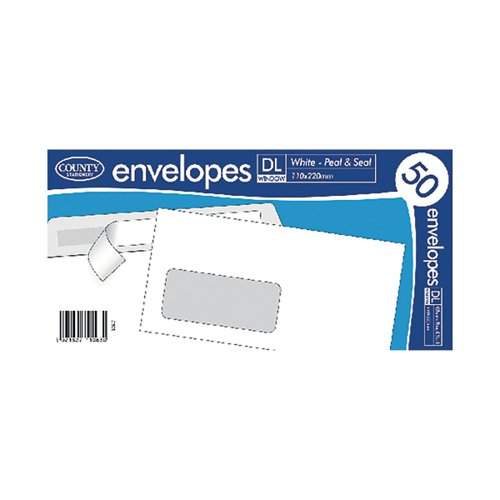 County Stationery DL White Window Peel and Seal Envelopes (Pack of 1000) C505