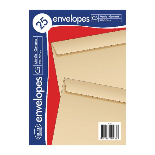 County Stationery C5 Manilla Gummed Envelopes (Pack of 500) C510