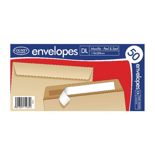 County Stationery DL Manilla Peal and Seal Envelopes (Pack of 1000) C520