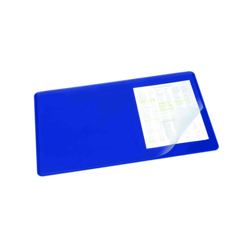 Durable Desk Mat with Transparent Overlay 530 x 400mm Dark Blue 720207