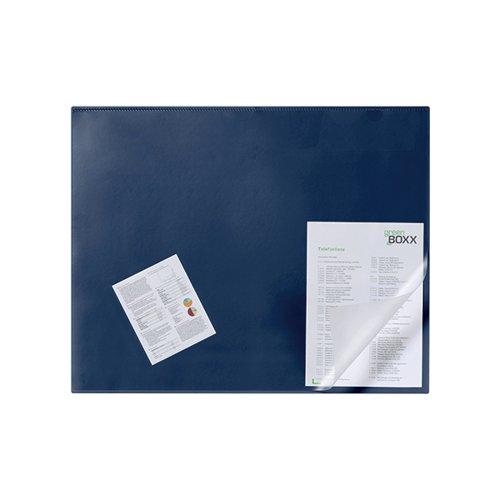 Durable Desk Mat with Transparent Overlay 650 x 520mm Dark Blue 720307