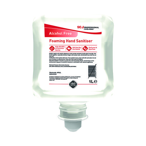 Deb Alcohol Free Foam Hand Sanitiser Cartridge 1 Litre AFHS1L