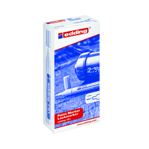 Edding 751 Paint Marker Bullet  1-2mm Line White PK10