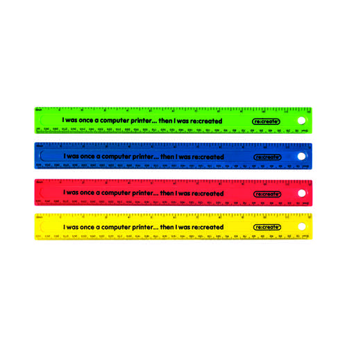 ReCreate Shatter Resistant Ruler 30cm Assorted (Pack of 100) RCSPR30A