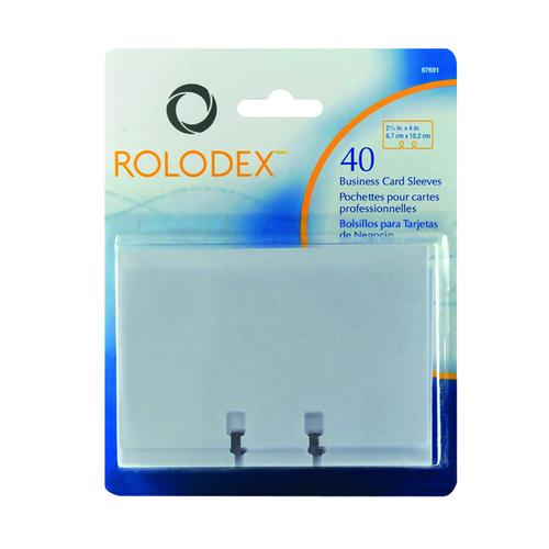 Rolodex Business Card Sleeves Clear Pk40