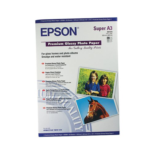 Epson Premium A3+ Glossy Photo Paper (Pack of 20) C13S041316