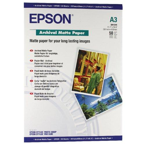 Epson C13S041344 Archival Matte Paper A3 50 Sheets