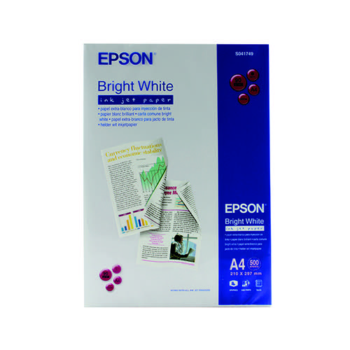 Epson Inkjet A4 Paper 90gsm Bright White Ream (Pack of 500) S041749 C13S041749