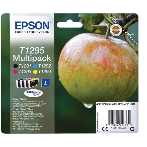 Epson T1295 Black Cyan Magenta Yellow Ink Cartridge (Pack of 4) C13T12954012