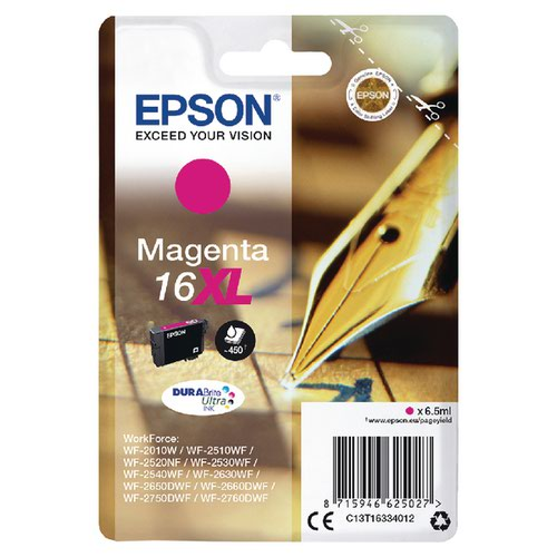 Epson 16XL Magenta Inkjet Cartridge (CapacityL 450 pages) C13T16334012