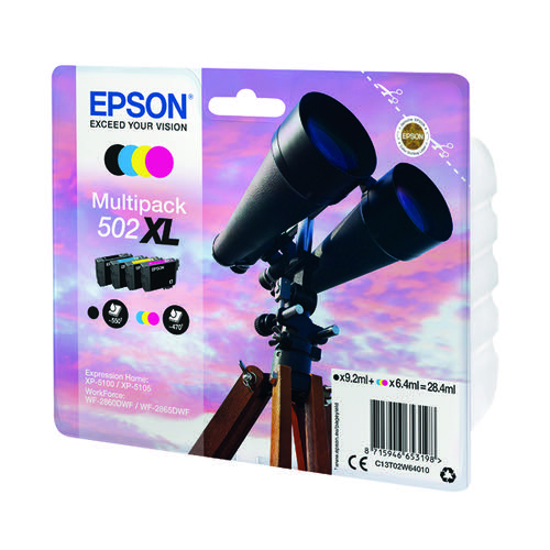Epson Multipack 502XL Ink 4-colours -(Black ink - 9.2ml Colour ink - 6.4ml) C13T02W64010
