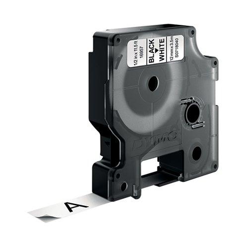 Dymo D1 Flexible 16957 Nylon Tape 12mm x 3.5m Black on White S0718040