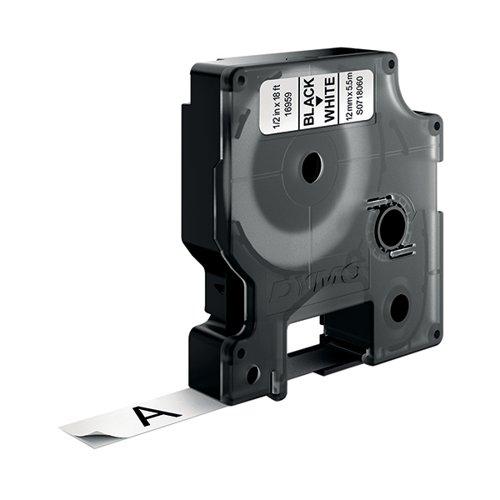 Dymo Polyester D1 Tape 16959 Black On White 12mm S0718060