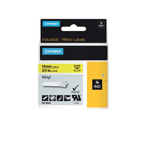 Dymo Rhino Coloured Vinyl Labels Black on Yellow 19mmx5.5m 18433