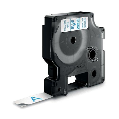 Dymo 45014 D1 LabelMaker Tape 12mm x 7m Blue on White S0720540
