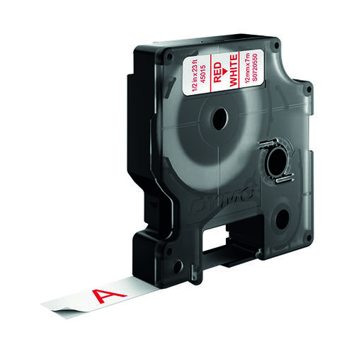 Dymo D1 Tape 12mm Red on White