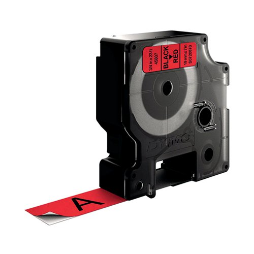 Dymo D1 Label Tape 19mm x 7m Black on Red